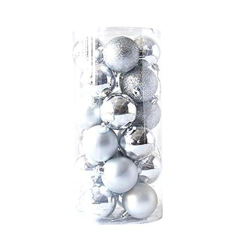 Malloom® 24pcs glänzende und polierte glänzende Weihnachtsbaum Ball Ornamente Dekorationen 1.5 '' (silber)