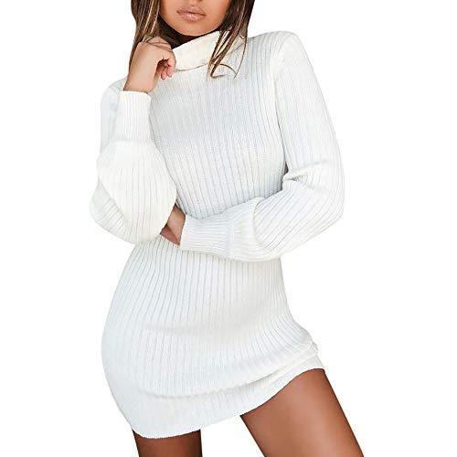 Vestido De Punto Sólido Ligero Suave Elástico Suéter De Cuello Alto Jerséis Casual Sueter De Mujer Otoño Invierno Sueter Largo Mujer Vestidos Sexys para Mujer