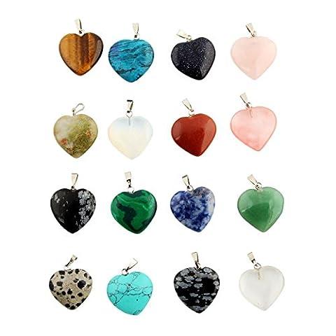 Cmidy 30pcs Heart Shape Gemstone Healing Chakra Beads Crystal Quartz DIY Stone Randow Color Gemstone Pendants for Necklace Earring Jewelry Making (30)