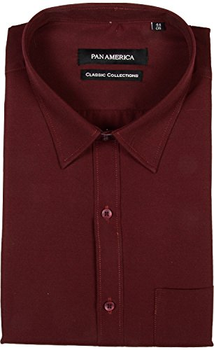 PAN AMERICA Men's Cotton Formal Shirt (PA490240, Maroon, XX-Large)