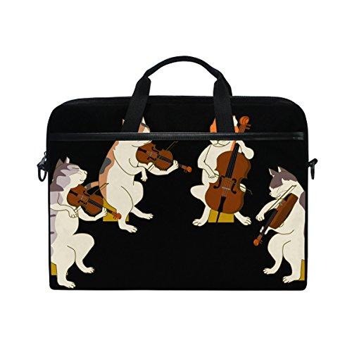 Ahomy 14 Zoll Laptop Tasche Quartet Katze Cartoon Canvas Stoff Laptop Tasche Bussiness Handtasche mit Schultergurt für Damen und Herren