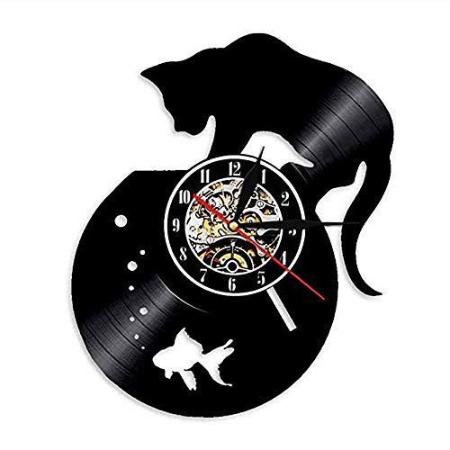 ALEILA 12 '' Led Schwarze Katze Und Goldfischglas Vinyl Runde Uhr Wandleuchte Fernbedienung Hintergrundbeleuchtung Moderne Kühle Wohnzimmer Innen Dekorative