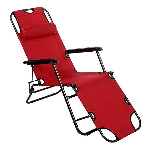 Ncient klappbar Liegestuhl mit Kissen Strandliege Sonnenliege Gartenliege Relaxliege Belastbarkeit...