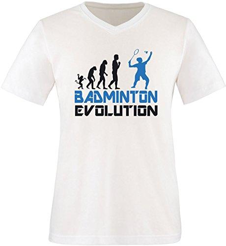 EZYshirt® Badminton Evolution Herren V-Neck T-Shirt Weiss/Schwarz/Blau