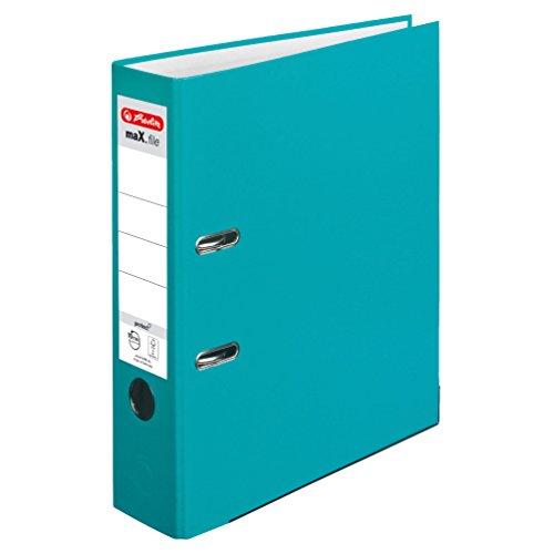 Herlitz 11416260 Ordner maX.file protect A4, 8 cm mit Einsteckrückenschild, 5er-Packung, FSC Mix, türkis