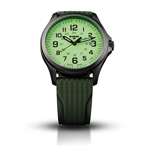 Traser P67 Officer Pro Gun Metal, Rubber Strap (Natural Rubber) Lime Green