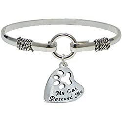 Mi gato Rescued Me Plata solo pulsera joyas Pet Shelter