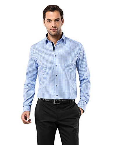 Vincenzo Boretti Herren-Hemd bügelfrei 100% Baumwolle Regular-fit kariert New-Kent Kragen - Männer lang-arm Hemden für Anzug mit Krawatte Business Hochzeit Freizeit blau/weiß 39/40