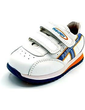 Pablosky 221652 - Deportivo en Piel de velcros para niños. Color Blanco y Azul.