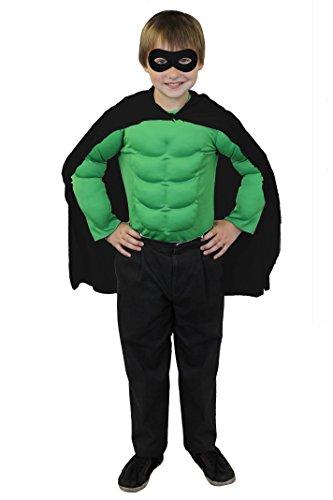 Kostüm Mädchen Muskel - ILOVEFANCYDRESS SUPERHELDEN Hero Kinder Jungen MÄDCHEN KOSTÜM VERKLEIDUNG =SCHWARZER UMHANG+SCHWARZER Maske +MUSKELSHIRT IN 6 Farben+ 2 GRÖSSEN=Fasching Karneval=GRÜNES Muskel Shirt-Standard