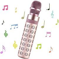 SENDOW Tragbare Drahtlose Karaoke Mikrofon Bluetooth Lautsprecher für Apple iPhone Android Smartphone Oder PC, Startseite KTV Outdoor Party Musik Spielen Singen (Rose Gold)