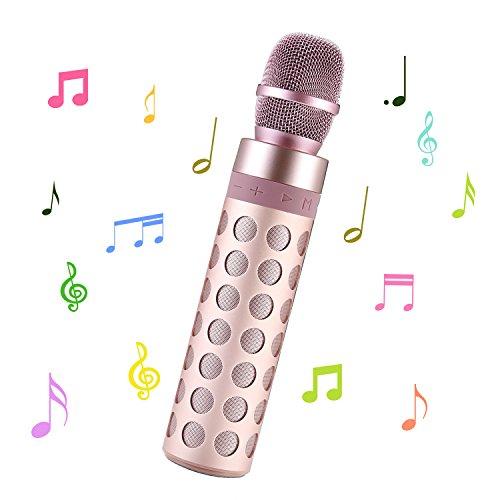 SENDOW Karaoke Mikrofon Bluetooth Drahtlose Tragbare Mikrofon Lautsprecher Karaoke für Apple iPhone Android Smartphone Oder PC, Startseite Outdoor KTV Party Musik Spielen Singen (Roségold)