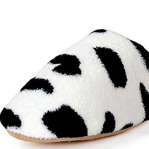 Molleton Enfants Chaussons Coton étage Pantoufles Femmes Hommes Chaussures Indoor Blanc et Noir