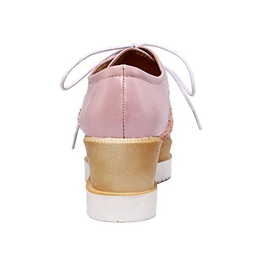 VogueZone009 Femme à Talon Correct Couleur Unie Lacet Fermeture D'Orteil Carré Chaussures Légeres Rose