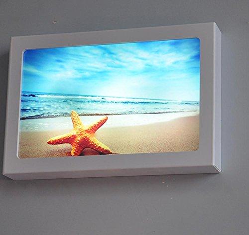 FWEF Beach Lampada Da Parete Pittura Decorativa Luci Moderno Modo Semplice Letto Ultra-Sottile Led Lampade Di Illuminazione Piatto Di Legno-Plastica