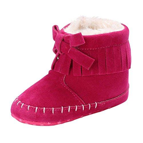 SHOBDW Baby-weiche Sole-Beuten-Schnee-Aufladungen Säuglingskleinkind-Neugeborene, die Schuhe schuhe (6~12 Monate, Heiß Rosa) (Andenken Taufkleider)