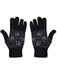 DIGITAL SHOPEE Winter Woolen Unisex Gloves Winter for Men and Boys Motorcycle Riding Hand Gloves - (Black)