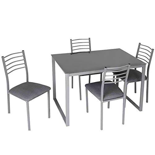 Bakaji set tavolo da pranzo + 4 sedie in stile moderno con struttura in metallo piano in vetro temperato e sedie imbottite colore grigio per cucina sala da pranzo soggiorno casa dimensioni 110x70x75cm