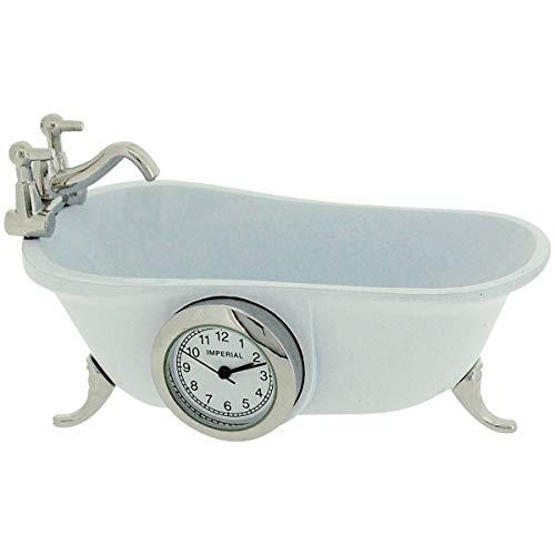 Miniatur Quartzuhr Weiße Vintage Badewanne Sammleruhr 9590 -
