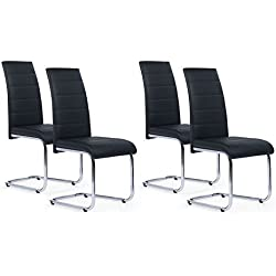IDMarket - Lot de 4 chaises Mia Noires pour Salle à Manger