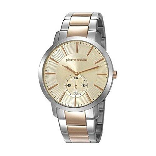 Pierre Cardin pc106981F09funda de 44mm de acero Multicolor pulsera y Mineral reloj de pulsera para hombre