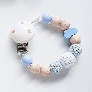 Schnullerkette in Hellblau und Weiß mit Wolke für Jungen