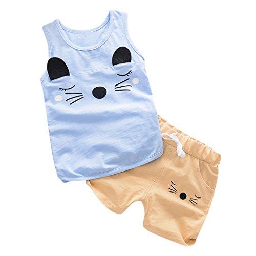 Babybekleidung,Resplend Kleinkind Kind Baby Mädchen Junge Outfits Katzen Drucken Tops Weste + Shorts Kleidung Set Mode Freizeit T-Shirt 2 Stück Bekleidungssets Babyanzug (Blau, 18M)