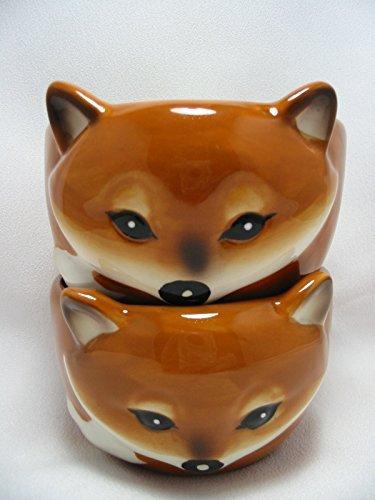 Sly Fox Bowls Orange Brown Ice Cream Dessert Ramekin Dishes Set of 2 Ceramic 3-D (Brown Ceramic Bowl)