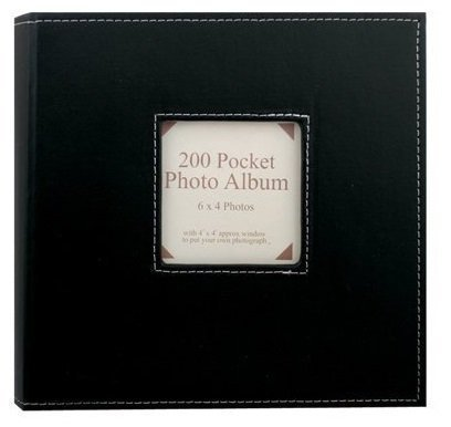 1 x Leather Look 23 x 23cm Insert Your Own Picture Photo Album Holds 200 6 x 4 Photographs Black by