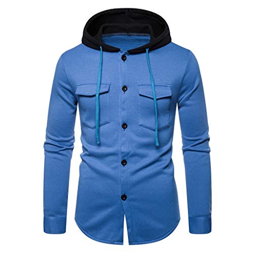 Fenverk Herren Sweatshirt Kapuzenpullover Langarmshirt Pullover Sweats Warm Atmungsaktiv Bequem Jacke Sweatjacke Kapuzenjacke Top Outwear Bluse(A Blau,XXXL)