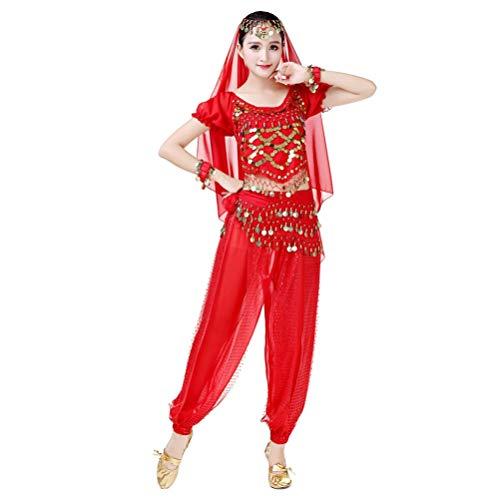 JEELINBORE Damen 3pcs Bauchtanz Kostüme Set Pailletten Quasten Glitzer Fasching Halloween Karneval (Chiffon Haremshose + Hüfttuch mit Münzen + Crop Tops) - 3pcs #Rot, Freie (Jasmin Kostüm Rot)