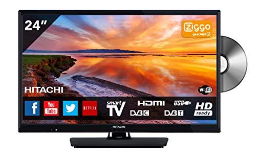 Hitachi 24HB4J65 TV 61 cm (24 Inch) (HD-Ready, Triple Tuner, Smart TV, DVD Player, DVB-T2) [Energy Class A+]