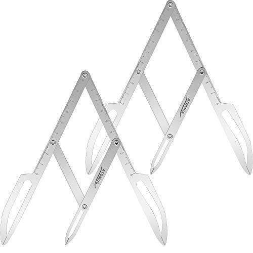 2 Stücke Verhältnis Augenbrauen Lineal Verhältnis Augenbrauen Schablone Dreipunkt Positionierungs Balance Lineal für Augenbrauen Make-up Messung, Silbrig - Künstler Malen Tools