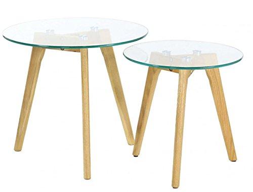 PEGANE Lot de 2 Tables gigognes en Bois et Verre trempé Coloris Transparent