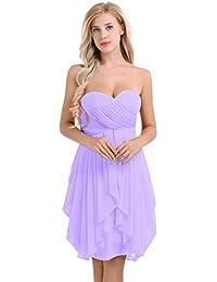 Freebily Asymétrique Robe de Soirée Cocktail Bal Femme Bustier Robe de Demoiselle d'honneur sans Manches Ruché Robe Mousseline de Soie Taille Haut 34-46