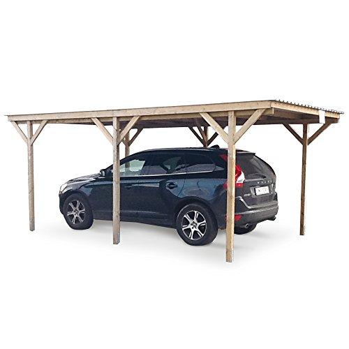 Gazebo garage copertura auto legno nordico trattato esterno 300x560xh230cm 60538