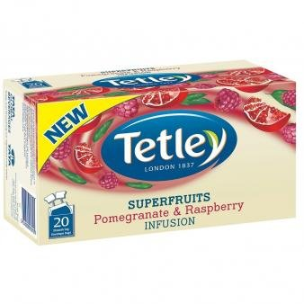 Tetley Superfruits POMEGRANATE & RASPBERRY (Melograno e Lampone) busta tè confezione da 20 x 6 scatole - Lampone Menta Tè