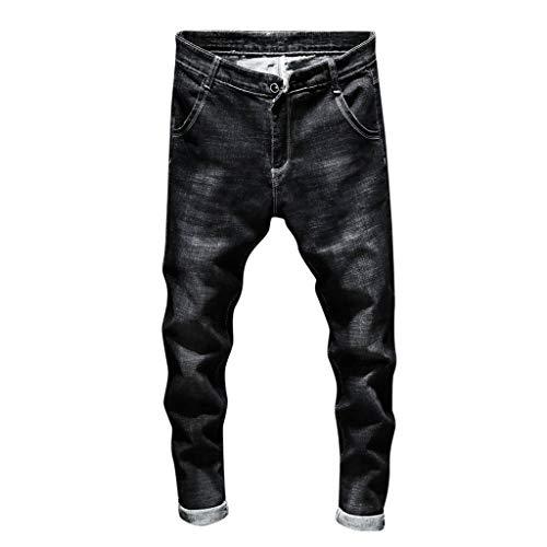 Jeans skinny uomo, rcool jeans da uomo stretti alla caviglia elasticizzati casuale denim pantaloni slim fit nero s-3xl,