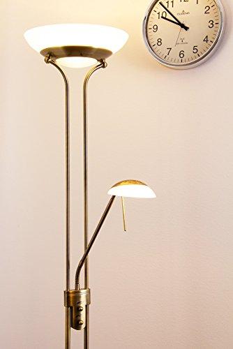 LED Deckenfluter Biot Farbe altmessing 1 x 18 Watt 1600 Lumen und 1 x 5 Watt 450 Lumen 3.000 Kelvin warmweiss