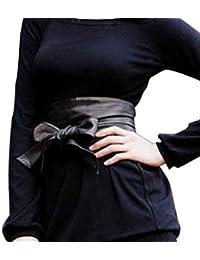 Luckshop2012 Lady femmes larges bowknot ceinture souple avec ceinture (noir)