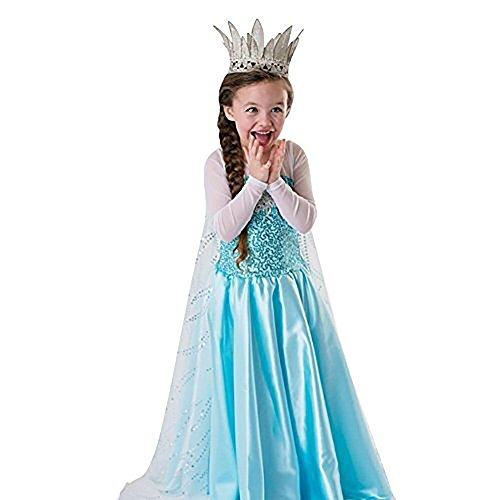 HAWEE Mädchen Eiskönigin Schneeprinzessin Kostüm (5-6 Jahre/130cm)