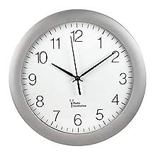 Hama PG-300 Circle Silver Wall Clock (AA Mignon, Silver, Plastic, Glass, 52 mm, 500 g)