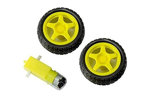 Smart Car Robot Plastic Tire Moteur DC 3–6V Gear Wheel Set with for Arduino prototypage