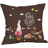 LEEDY2019 Happy Easter Bunny Funda de Almohada Plaza Sofá de Lino Funda de cojín Decoración para