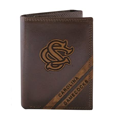 NCAA South Carolina Gamecocks Zep-Pro Pull-Up Leather Trifold Embossed Wallet, Brown by Zeppelin Products, Inc.