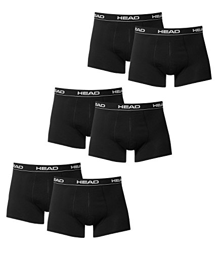 HEAD Herren Boxer Boxershort Unterhose 6er Pack in vielen Farben (Black, M)