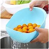 NAOE Plastic Vegetable Fruit Basket Rice Wash Sieve Washing Bowl Colander