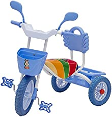 BABY TRICYCLE FOR KIDS WITH FRONT AND BACK BASKET WITH MUSICAL KIDS TRICYCLE BLUE COLOUR KIDS TRICYCLE RECOMMENDED TRICYCLE FOR BABY GIRL OR TRICYCLE FOR BABY BOY OR TRICYCLE FOR TODDLER GIRL OR TRICYCLE FOR TODDLER BOY RECOMMENDED FOR TODDLER 1,2,3,4,5 YEAR CHILDREN TRICYCLE FOR KIDS