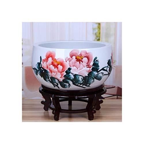 CHUJIAN Keramik Aquarium Ornamente, Jingdezhen Ceramic Goldfish Bowl, Turtle Zylinder Ornamente, Pastell handbemalte Blumentopf mit Boden, klein, mittel, groß Vase im chinesischen Stil,