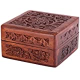 [Sponsored]ALs AnM Fashion Gift Box Exotic Hand Carved Rosewood Trinket Keepsake / Jewellery Box / Decorative Box With Hancarved Intricate Floral Patterns, 4 X 4 X 2.5 Inches- Square